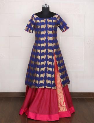 Magenta blue silk indo western