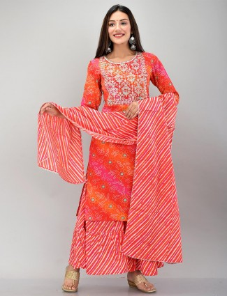 Magenta cotton festive wear printed punjabi style sharara suit