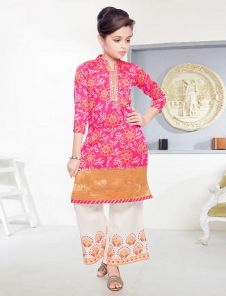 Magenta cotton silk festive palazzo suit