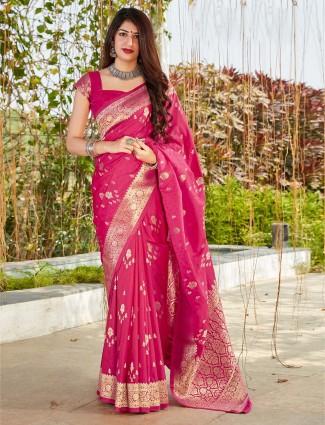 Magenta festive wear banarasi silk saree