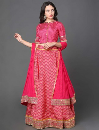 Magenta hue silk wedding wear lehenga choli