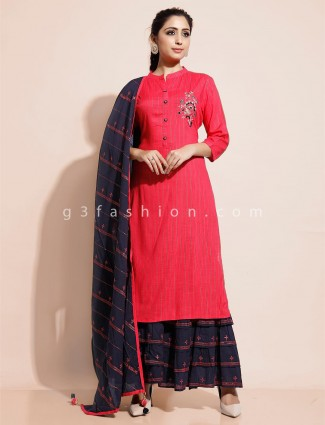 Magenta kurti with sharara in cotton for festival