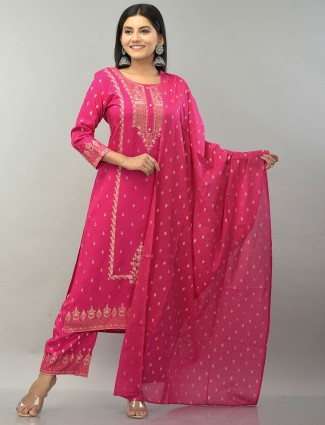 Magenta printed cotton palazzo suit for festivals