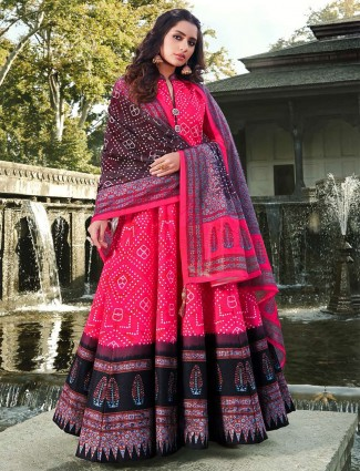 Magenta printed cotton silk floor length anarkali suit for festivals