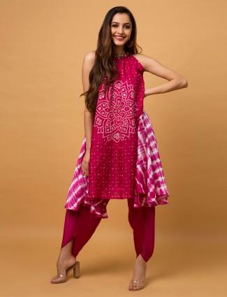 Magenta silk wedding occasions dhoti style salwar suit