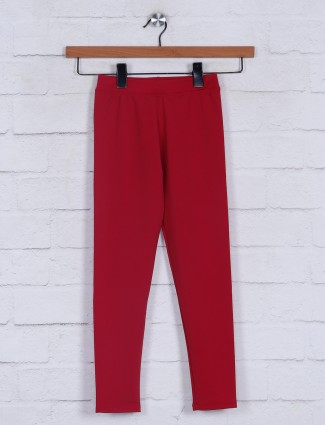 Magenta solid casual wear jeggings