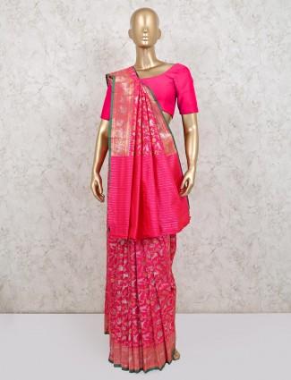 Magenta wedding wear banarasi silk saree