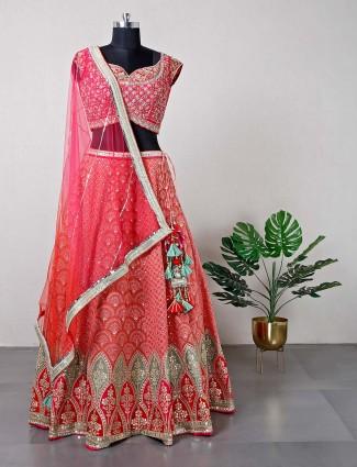Magenta womens silk lehenga for women