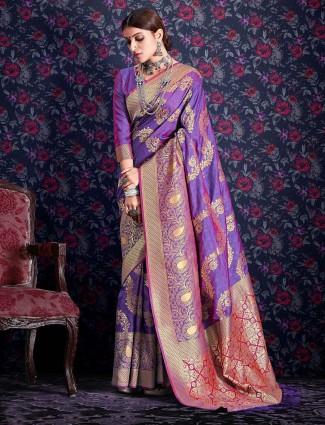 Magnificent violet banarasi silk saree for wedding functions