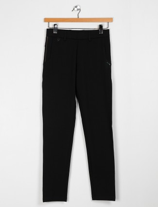 Maml brown cotton solid black track pant