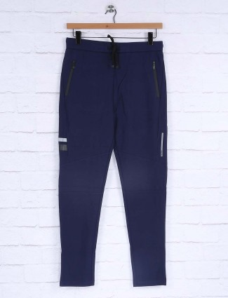 Maml cotton royal blue solid track pant
