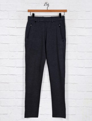 Maml grey solid cotton track pant