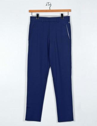 Maml navy cotton solid night payjama