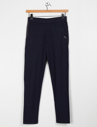 Maml navy solid cotton track pant