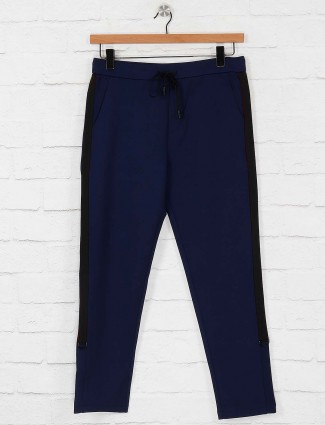 Maml royal blue solid night track pant