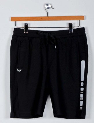 Maml solid black casual shorts