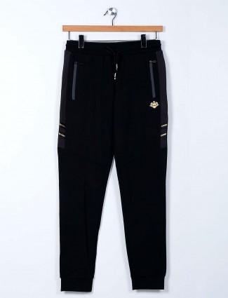 Maml solid black cotton mens track pant