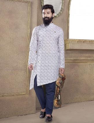 Mans printed off white kurta suit