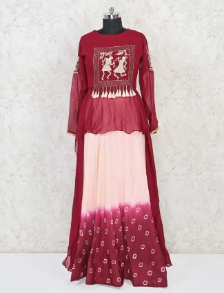 Maroon and cream bandhani print indo western salwar suit for festivals
