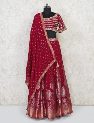Maroon banarasi silk wedding lehenga choli