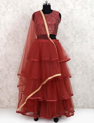 Maroon color lehenga choli in net