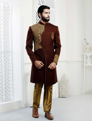 Maroon colored terry rayon fabric indo western