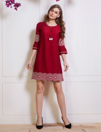 Maroon cotton casual top with drawstring