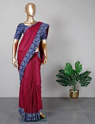 Maroon cotton festive wear saree