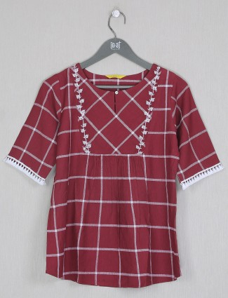 Maroon cotton gorgeous printed casual wear top