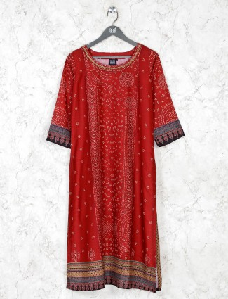 Maroon cotton silk kurti in casual