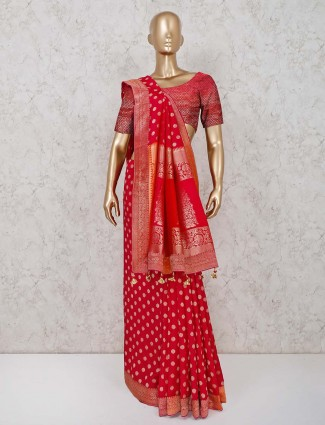 Maroon cotton silk saree for wedding function