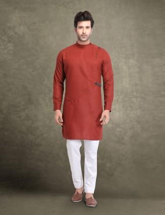 Maroon cotton solid mens kurta suit
