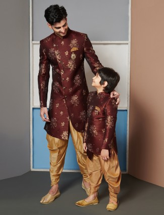 Maroon father-son indo western for wedding function