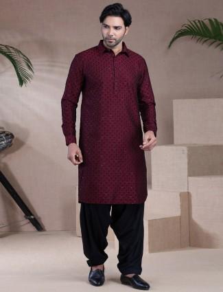 Maroon festive men raw silk pathani suit