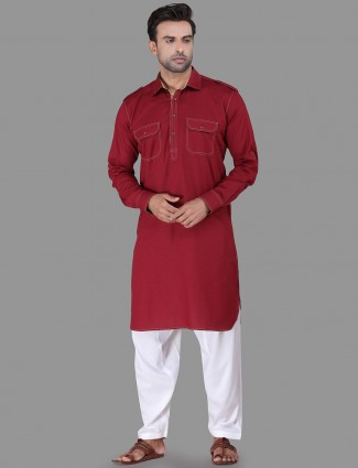 Maroon festive wear pathani suit