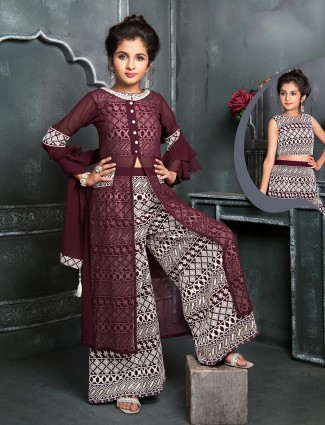 Maroon georgette double layer palazzo suit