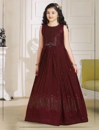 Maroon georgette wedding days gown
