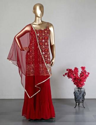 Maroon georgette wedding wear salwar kameez