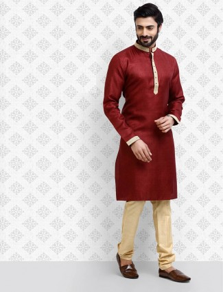Maroon hue half buttoned placket kurta suit
