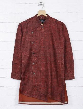 Maroon hue printed cotton fabric kurta suit