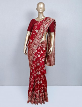 Maroon muga silk festive wear saree