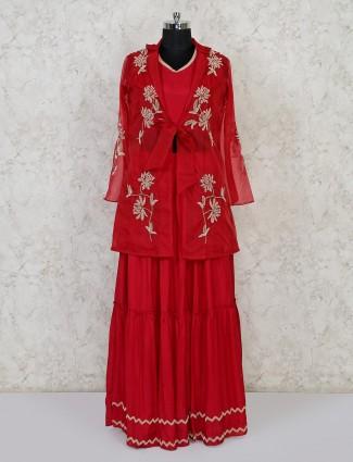 Maroon net cotton silk indo western lehenga suit