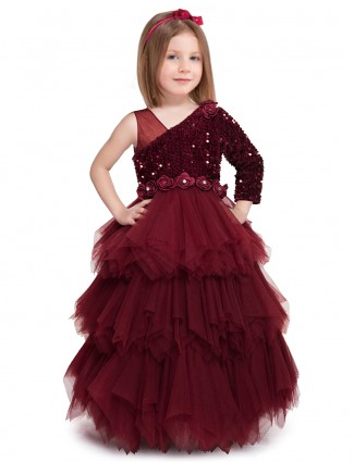 Maroon net wedding gown for cute baby