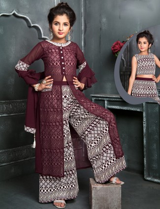 Maroon palazzo suit for girls in georgette