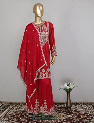 Maroon sharara suit in cotton silk for reception sessions