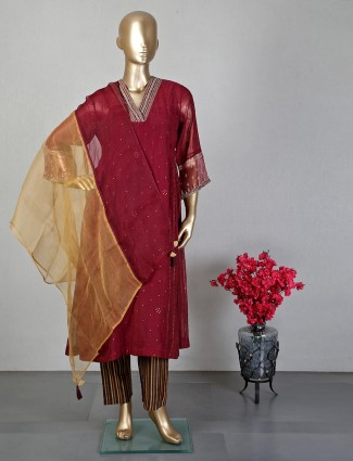 Maroon pant style salwar suit for women
