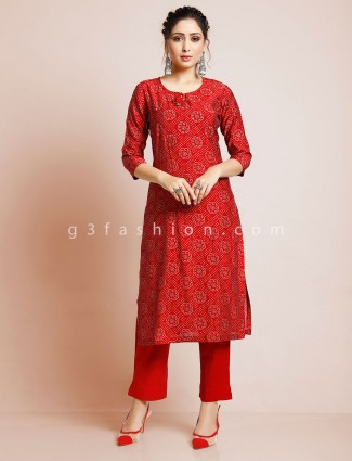 Maroon pant suit in punjabi style in cotton