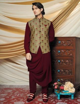 Maroon party wear silk waistcoat set