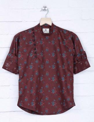 Maroon printed cotton fabric kurta