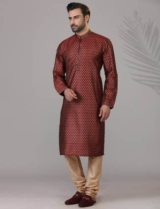 Maroon printed cotton silk festive wear kurta suit